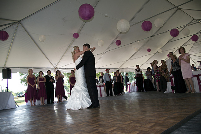 Bride and groom first dance in tent at the Tennessee River Place